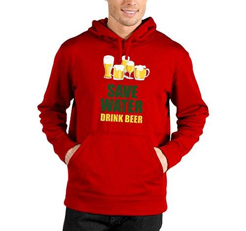 Felpa con cappuccio Save water drink beer - salva l'acqua bevi birra - humor - beer - in cotone Rosso
