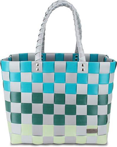 normani Einkaufskorb Shopper geflochten aus Kunststoff - robuster Strandkorb aus wasserabweisendem Material Farbe Classic/Haikili