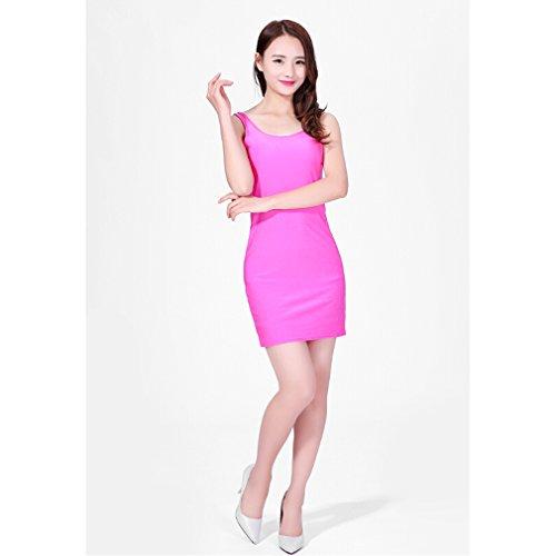 Yinew Damen Weste Dünne Weste Rock Damen Kleid Stretch Große Größe Glänzende Weste Rock Langen Absatz Sichern Kleine Rosa L