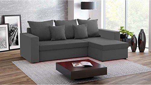 Justhome fresh divano angolare divano letto microfibra (lxlxa): 142x237x75 cm grigio penisola a destra