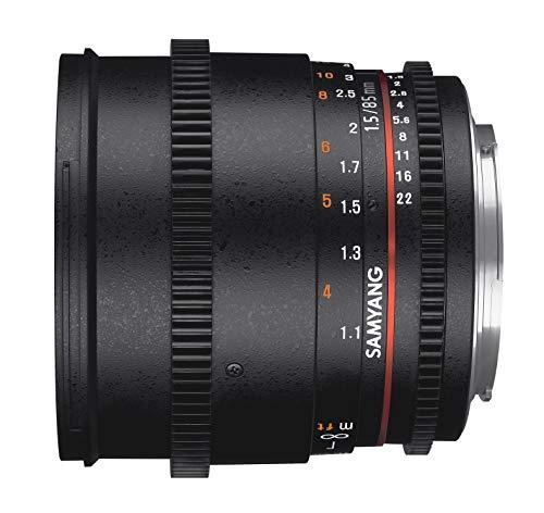Samyang 85/1,5 Objektiv Video DSLR II Canon EF manueller Fokus Videoobjektiv 0,8 Zahnkranz Gear, Porträtobjektiv schwarz (Canon-objektiv Video Für)