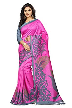 Ginigold Women's Cotton Saree With Blouse Piece (N-249_Pink)