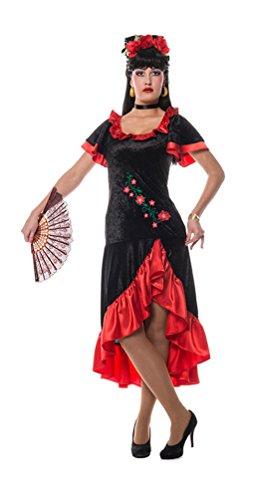 Karneval-Klamotten Spanierin Kostüm Damen aus samt Damen-Kostüm Flamenco Kleid Damen-Kostüm Größe 42