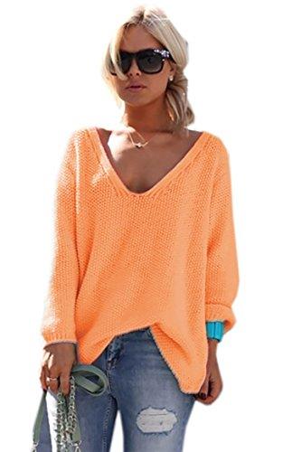 *Mikos* Damen Pullover Hoodie Sweatshirt Warm Lange Ärmel Casual Sleeve Pullover Jacke Slim Mantel Tops (617) Orange