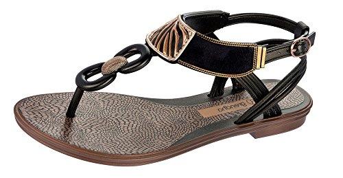 Grendha Brasil Acai Thong Femme Flip Flops Black