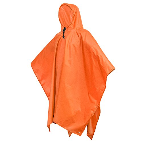 Terra Hiker Regenponcho, 3-in-1 Multifunktionales Regencape zum Camping Wandern (Orange)