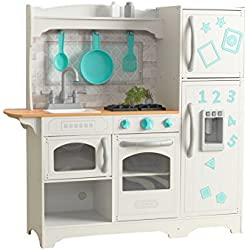 KidKraft 53424 Cocina de juguete Countryside de madera para niños con frigorífico magnético, dispensador de hielo de juguete y accesorios de juego incluidos