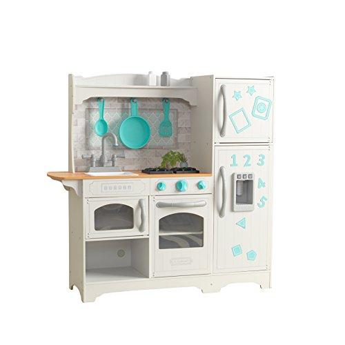 KidKraft 53424 Cuisine enfant en bois Countryside, jeu d'imitation incluant accessoires, distributeur de glaçons et EZ Kraft AssemblyTM