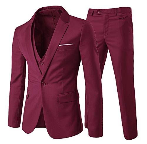 Trajes para hombre Traje de 3 piezas de ajuste delgado rojo de la boda cena de negocios para la descripción hombres de botón de la chaqueta del mantón de la solapa de la Blazer Chaleco Pantalones Producto: Tipo de estilo: Formal ajuste delgado del ju...