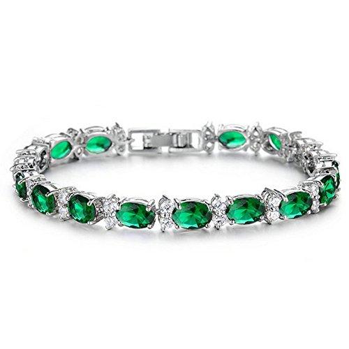 1febf59adafd28 Yoursfs Bracelet femme argent plaqué Solitaires en Emeraude et Zircon  cubique blingbling pour Fille comme Cadeau