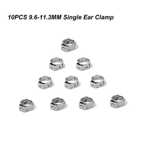 10 PCS Clip /à Ressort Tuyau inox Serre-joints colliers de serrage 7.8-9.5MM oreille unique Ajustable Fixation Clips pour Fixer Tuyaux Souples et Durites