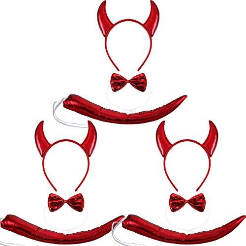 Tier Ohren Kostüm - WILLBOND 9 Stücke Tier Ohren Stirnband Fliege und Schwanz Kostüm Satz für Halloween Cosplay Kostüm oder Party Dekoration ((Stil Teufel Ohren Stirnband Fliege und Schwanz))