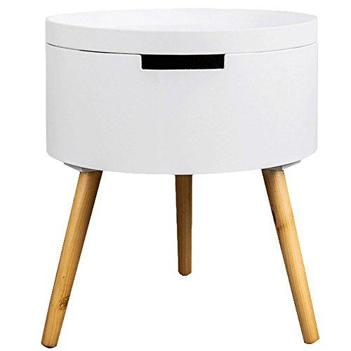 LongYu Weiß Holz Side End Tisch Nachttisch mit Schublade Massivholz Beine Wohnzimmer Möbel (3 Warenkorb Braun Schubladen)