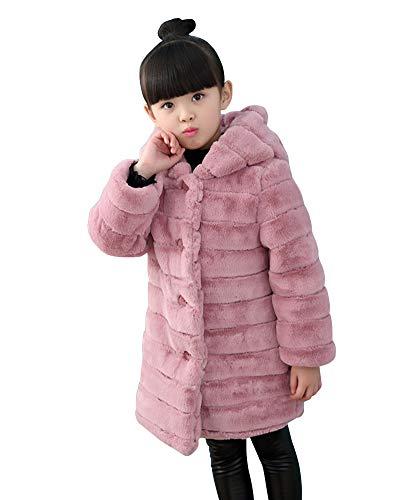 Bebé Niñas Invierno de Pieles sintética Abrigo cálido Chaqueta de Capa Pink...