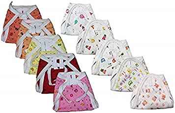 Teeny Weeny New Born Skin Friendly Hosiery Cotton Nappies/Diaper Pack of 10 (0-6 Months)(Multicolour Mix Prints)