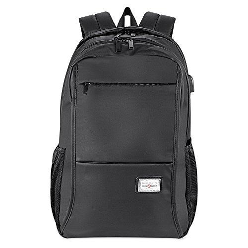 USB Zaino PC/Notebook/Computer/Laptop/Portatile Zaini Scuola/Trekking Backpack Casual (15.6'') (Nero-20005)
