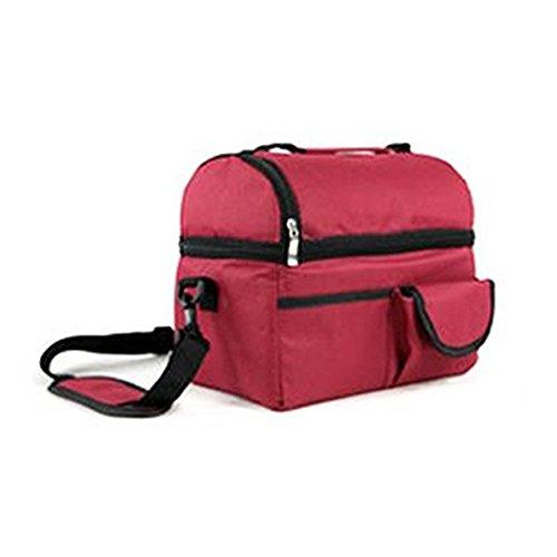 Togather® Portatile grande capacità all'aperto Picnic Basket organizzatore pranzo doppio isolato scatole ice pack Cooler bag seno-conservazione, baby Bottle Bag (Vino rosso)