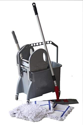 CleanSV Wischset grau 50cm - 16 Liter, PE Putzeimer/Reinigungswagen mit 4 Rädern und Moppresse, 3 CleanSV Baumwollmops 50 cm, Mophalter und Teleskpstiehl