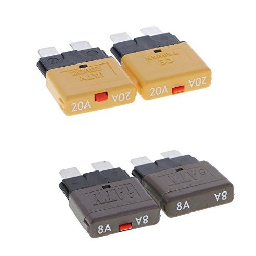 Dolity 28V Automatik Mini Circuit Breaker Blade Sicherungen Aftermarket-teil, Oberflächenmontage Leistungsschalter - Amere Auswählen - als Bild - 8A + 20A