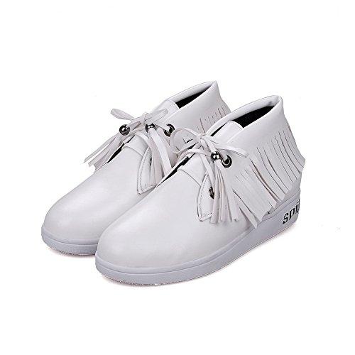 Salto Pura Sapatos Macio Redondo Baixo Senhoras Do Bombas Pé Brancos Material Allhqfashion Rendas Dedo SqEgcwH