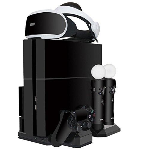 ieGeek [All-in-1] PS4 Slim / PS4 / PS4 Pro Vertikaler Standfuß mit 2 Kühler Lüfter - Ladestation für PlayStation 4 DualShock 4 und 2 PS Move Controller - PS VR Brille Headset Ständer Halterung