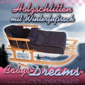Babys-Dreams *KOMBIPAKET* Holzschlitten mit Rückenlehne + Zugleine + Winterfusssack 108cm MARINEBLAU aus Fleece für Kinderwagen - POLAR - Lehne -Kinderschlitten - Schlitten aus Holz Kinderschlitten NEU