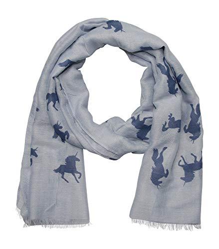 ACC leichter Damen Schal mit Pferde Muster Einhorn Symbol (blau blau)