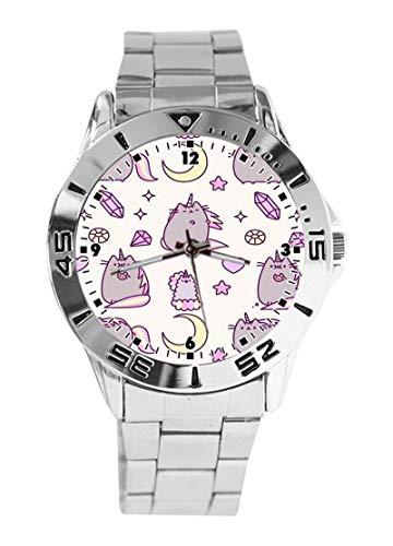 Reloj de Pulsera analógico con diseño de Unicornio de Gato, con Esfera de Cuarzo y Esfera Plateada, Correa clásica de Acero Inoxidable, para Mujer y Hombre