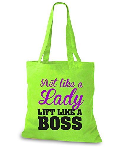 StyloBags Jutebeutel / Tasche Act like a Lady - Lift like a Boss Lime