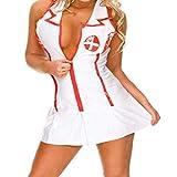 Trajes de las mujeres de Qotone Traje del equipo de vestido de lujo de la ropa interior del uniforme de la enfermera de Cosplay atractivo