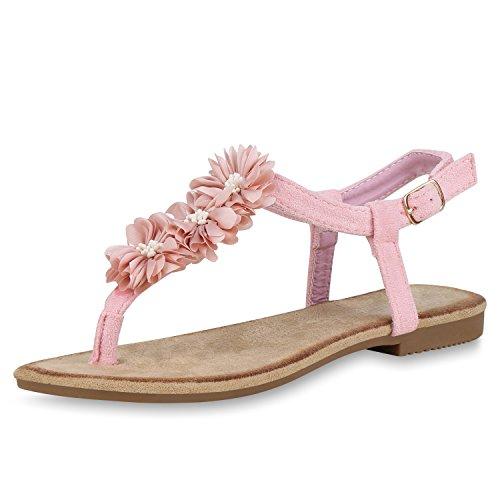 SCARPE VITA Damen Sandalen Zehentrenner Flats Blumen Sommer Freizeit Schuhe 168648 Rosa Blumen 38 -