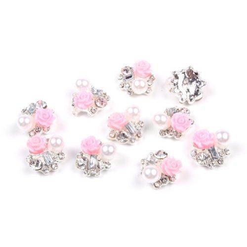 Cinq Saisons 10 pièces Nail Art 3D Avec Strass et Paillettes tranches de perle artificielle DIY Décorations