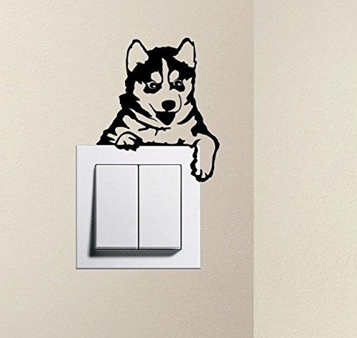 Designer–Cute Puppy Dog Husky Baby Pet Lichtschalter Aufkleber Funny Wandtattoo, schwarz, Size of sticker: 15cm x 12cm / 6