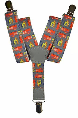 Bretelles entièrement réglable pour les enfants 1-5 ans - Voiture des Pompiers motif Gris