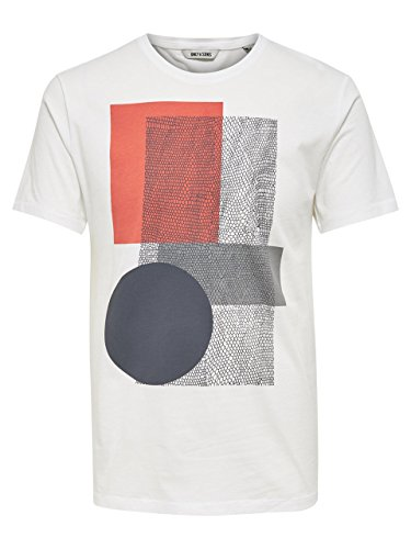 ONLY & SONS - Herren t-shirt mit frontprint 22006148 travis fitted tee sundress Creme