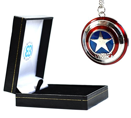 Marvel Captain America Sternenschild Anhänger – The Avengers Superhelden Halskette mit Geschenk-Box (Fancy Dress Superhelden)