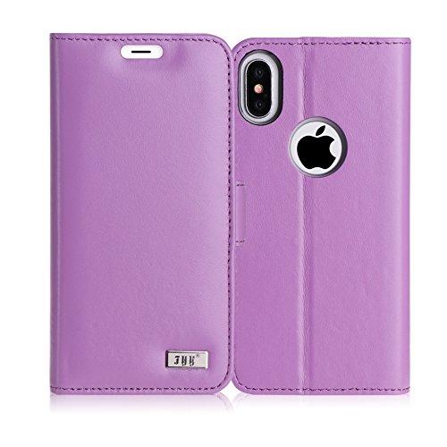 Cover iPhone X, Custodia iPhone X, Fyy® [RFID Blocco Portafoglio] [Custodia Genuina] 100% Custodia Protettiva Portafoglio da Mano per Carta di Credito iPhone X Edition Nero G-Viola Leggera