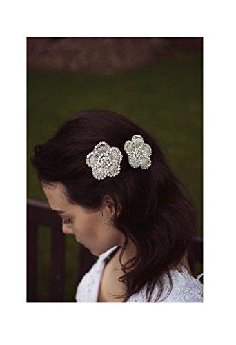 2 x Pinces à cheveux fleur argent strass coiffe de mariée vintage années 1920 Flapper Deco R19 * * * * * * * * exclusivement vendu par – Beauté * * * * * * * *