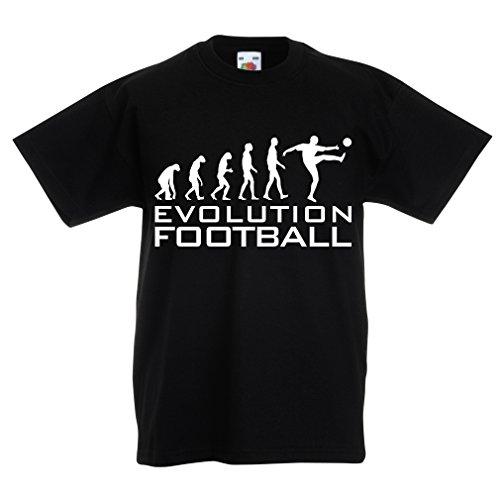 Kinder Jungen/Mädchen T-Shirt Die Entwicklung des Fußballs - Weltmeisterschaft, Fußballteam-Fanhemd, Russland-Meisterschaft 2018 (5-6 Years Schwarz Weiß)