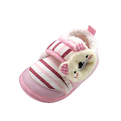 FNKDOR Babystiefel Bär Weiche Sohle Boots Neugeborene Warm Gefüttert Schuhe(12-18 Monate,Pink) (Haut-leder-schuhe)