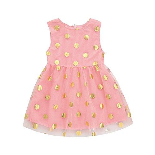 Kingko® Newborn Baby Girls Clothes Flower Wedding Party Christening Easter Egg Wave Dots Princess Dress