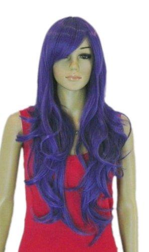 QIYUN.Z Haarteile Damen Perücken Langen Lockigen Wellenförmigen Trauben Lila Hitzebeständige Faser Synthetische Haar Voller Anime Cosplay Kostüm Perücke