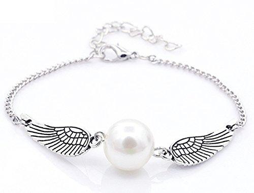 Goldene Schnatz Armband Farbe Silber mit weißer Perle Quidditch Goldenen Schnatz Taschen-Armband-Geschenk-Idee