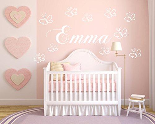 0022 Wandtattoo mit Wunschnamen . ***60cm x 18cm*****+10 Schmetterlinge Dekoation für das Kindezimmer, Baby, Geburt, Taufe