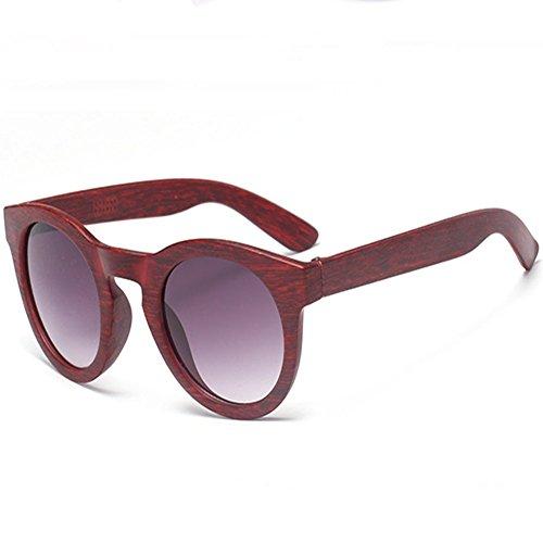 Z-P Unisex Wayfarer Retro Wood Grain Round Frame Sunglasses 50MM