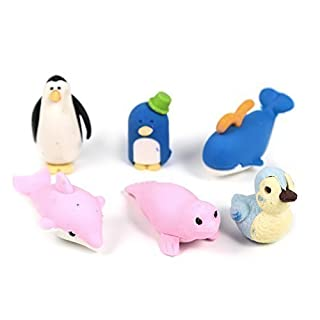 Well-Goal 6 Pcs Novelty Cute Assortment Animals Penguin & Sea lion Shaped Rubber Erasers Set For Kids Fun Toy Gifts