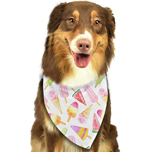 Washable Watercolor Fruit Ice Cream Triangle Unique and Never out of Date Bandana Scarves Accessories for Pet Cats and Dogs - Gifts