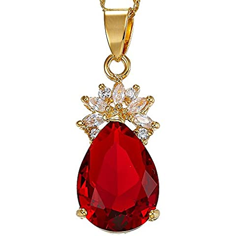 Rizilia Jewellery 18K Yellow Gold Plated Pear Cut Teardrop Gem Stone Cluster Pendant Necklace With (Length 48cm/18inch ) Curb Chain [Free Jewelry Pouch]