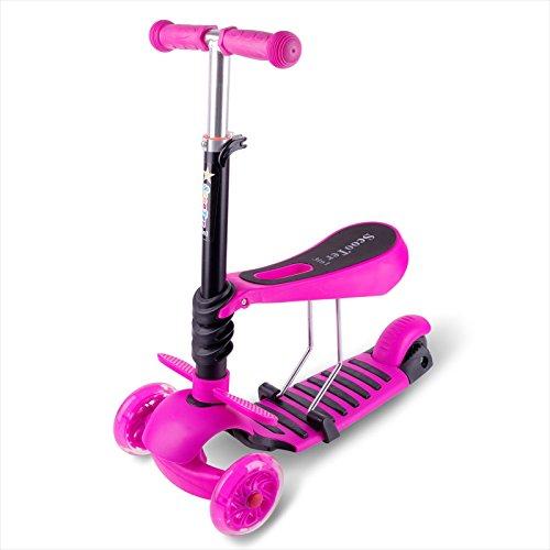 OOTOO 3 in 1 Mini Mitwachsender Dreirad Kinderroller Laufrad zum Laufenlernen LED Räder Scooter aus Aluminiumlegierung für Kinder von 2-5 Jahren in DREI Höhen Verstellbar (Pink) - Mini 2 Licht