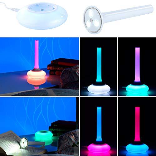 Lunartec Tischlampe Farbwechsel: 3in1-Nachttisch-Lampe mit Farbwechsel & Taschenlampe (Nachttischlampe Farbwechsel)